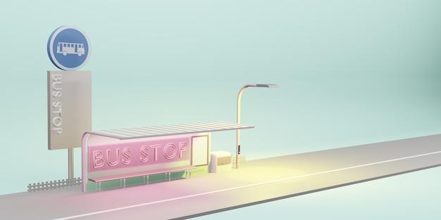 Illustration 3d des transports publics de la ville de dessin animé d'arrêt de bus