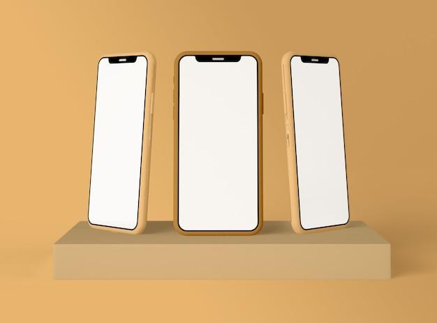 Illustration 3d. trois smartphones avec écran blanc vierge.