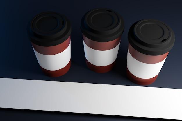 Illustration 3d de trois tasses à café avec couvercle en plastique et support sur un fond sombre isolé avec reflet et ombre
