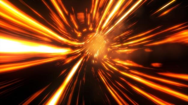 Illustration 3d trou de ver de feu abstrait avec flash