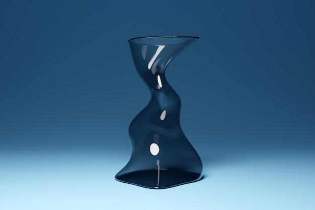 Illustration 3d d'un tuyau transparent en verre de forme inhabituelle, plié dans différentes directions sur fond bleu-gris