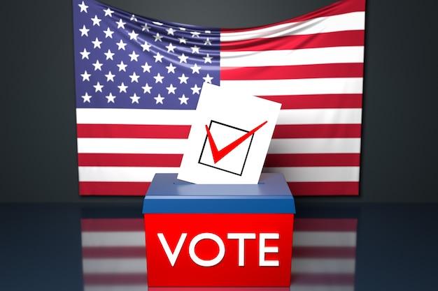 Illustration 3d d'une urne ou d'une urne, dans laquelle un bulletin de vote tombe d'en haut, avec le drapeau national américain