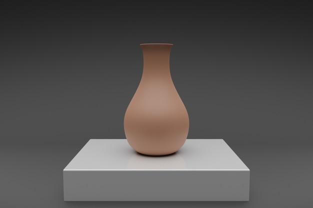 Illustration 3d d'un vase en argile brune sur un tableau blanc.