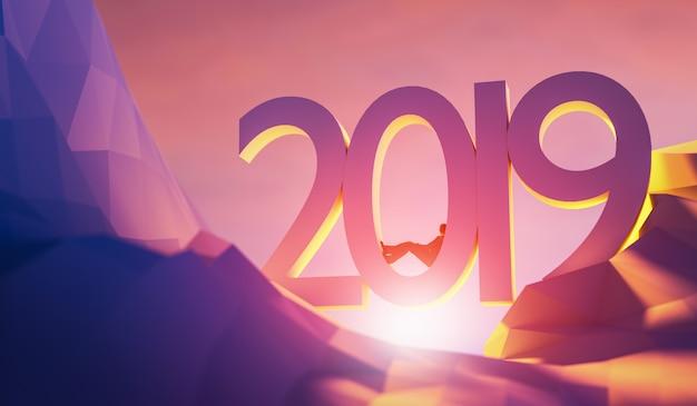 Illustration 3d à venir 2019 concept de nouvel an.