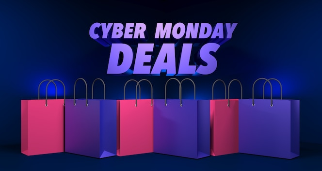 Illustration 3D de la vente Cyber Monday
