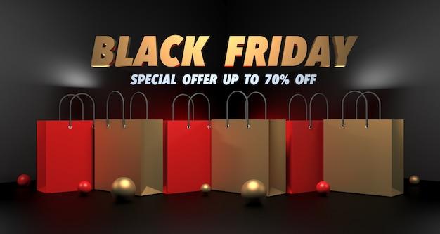 Illustration 3d de la vente du black friday