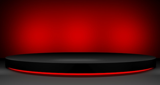 Illustration 3d de la vente du vendredi noir. podium vide pour le concept d'affichage du produit.