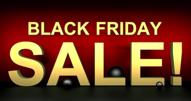 Illustration 3d de la vente du vendredi noir.