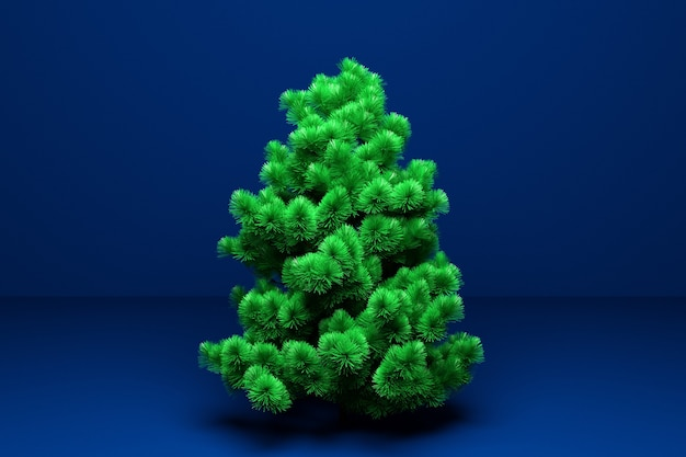 Illustration 3d véritable arbre de noël. maquette pour carte de voeux avec texte, affiche de vacances ou invitations de vacances. attributs de noël et du nouvel an.