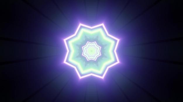 Illustration 3d vibrante de style minimaliste avec motif géométrique brillant en forme de fleur dans des couleurs néon bleu et vert pour futuriste
