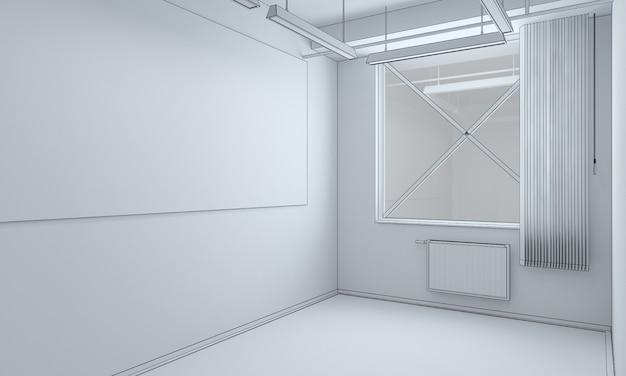 Illustration 3d de la visualisation de l'intérieur de la pièce vide