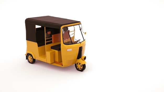 Illustration 3d d'une voiture de pousse-pousse, un véhicule pour le transport de personnes. voiture de tuk tuk, élément de design isolé sur fond blanc.