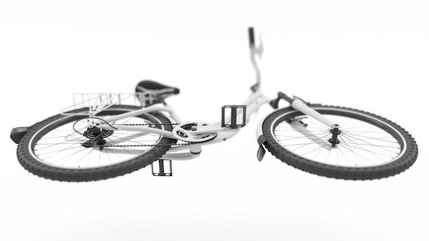 Illustration 3d de vue de dessous de vélo blanc