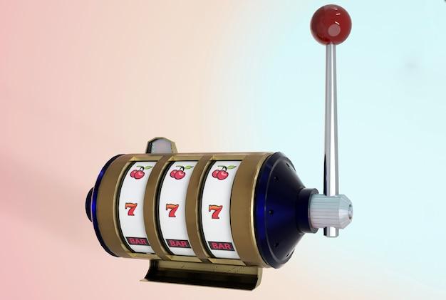 Illustration 3d. vue d'isolement , machine à sous et bandit à un bras sur fond pastel .