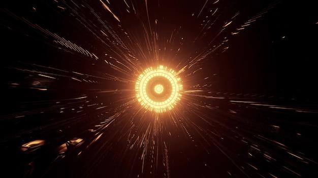 Illustration 4k uhd 3d d'une lampe dorée ronde avec des faisceaux de néons éclairant l'obscurité