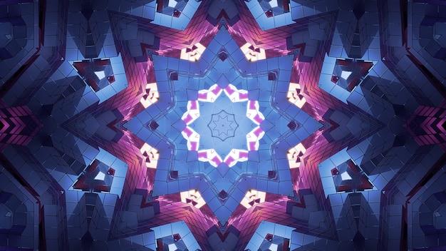 Illustration 4k uhd 3d d'un tunnel coloré en forme d'étoile formé de cristaux géométriques néons roses et bleus