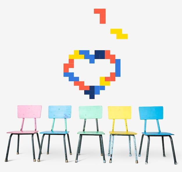 Illustration 8 bits du coeur d'amour romantique