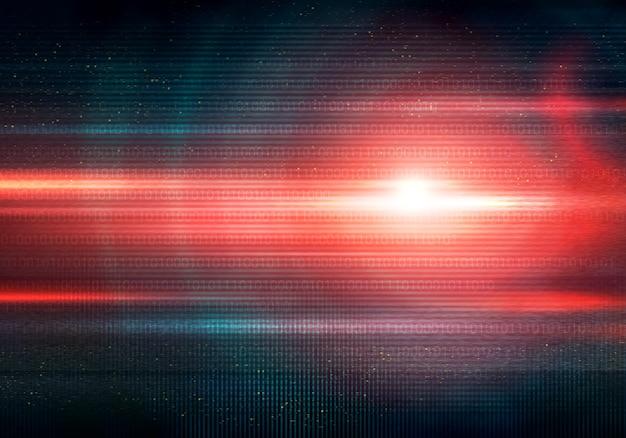Illustration abstraite de l'erreur de signal d'écran glitch code binaire et grande lumière rouge flare