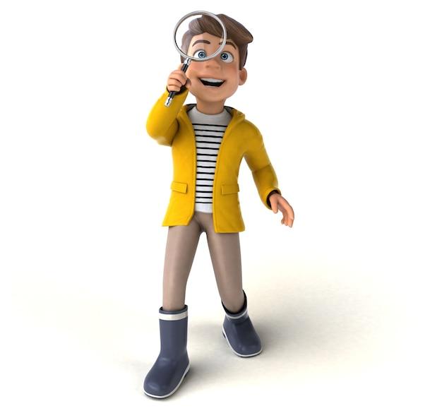 Illustration amusante d'un enfant de dessin animé avec des vêtements de pluie