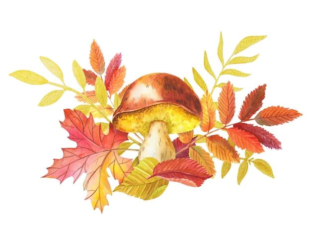 Illustration aquarelle d'automne avec des champignons et des feuilles colorées