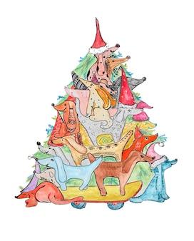 Illustration à l'aquarelle de chiens les uns sur les autres avec des cadeaux près de l'arbre de noël isolé