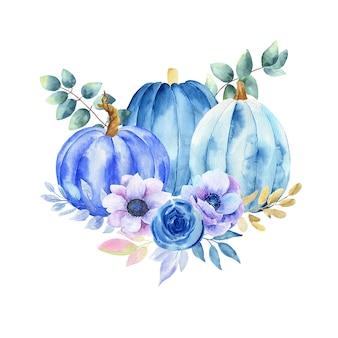 Illustration aquarelle d'une citrouille bleue