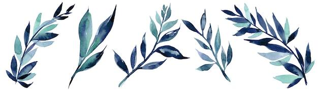 Illustration aquarelle dessinée à la main de branche bleue abstraite. éléments pour la conception d'invitations, d'affiches de cinéma, de tissus et d'autres objets
