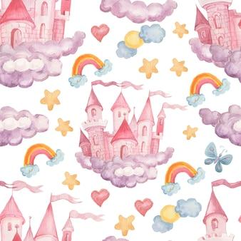 Illustration aquarelle dessinée à la main de château de princesse de fée ensemble sans couture d'illustration de fond textile imprimé pour les petites filles pour les félicitations de vacances nuages couleur rose image mignonne