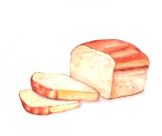 Illustration aquarelle dessinée à la main de pain tranché savoureux frais.