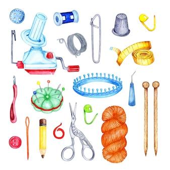 Illustration à l'aquarelle d'un ensemble d'outils à tricoter aiguilles à tricoter crochet enrouleur de fil luma