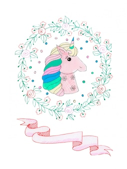 Illustration aquarelle d'une fabuleuse licorne rose