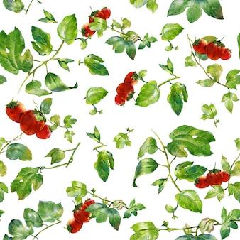 Illustration aquarelle de feuille et fraise, modèle sans couture sur fond blanc