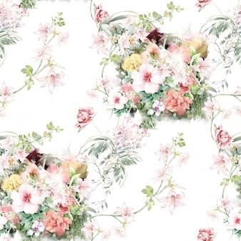 Illustration aquarelle de feuilles et de fleurs, modèle sans couture sur fond blanc