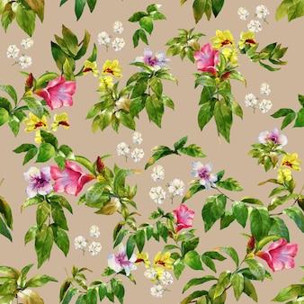 Illustration aquarelle de feuilles et de fleurs, modèle sans couture
