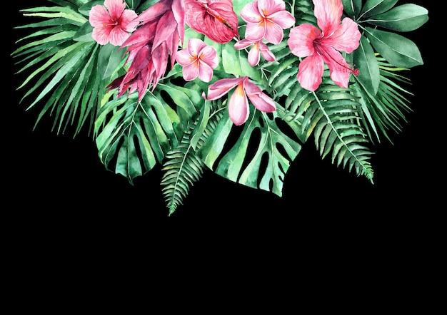 Illustration aquarelle de feuilles tropicales. cadre de feuilles tropicales. invitation au mariage