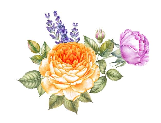 Illustration d'aquarelle en fleurs rose.