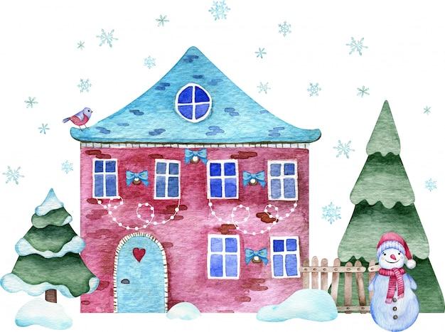 Illustration aquarelle de la maison de noël en brique cramoisie avec bonhomme de neige et épicéa, bancs de neige et flocons de neige volants.