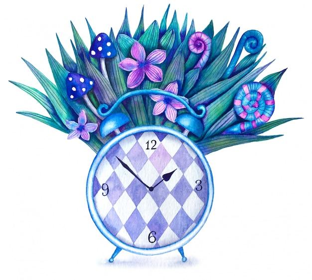 Illustration aquarelle mignonne vintage avec réveil magique et plantes