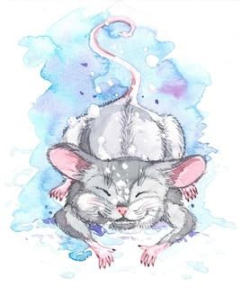 Illustration aquarelle de neige tombe sur la souris.