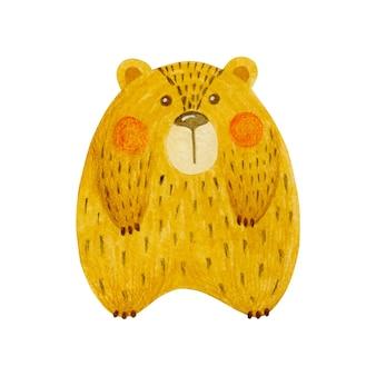 Illustration aquarelle d'ours en peluche isolé sur fond blanc