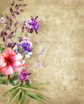 Illustration aquarelle peinture de feuilles et de fleurs avec rugueux