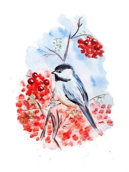 Illustration aquarelle d'une petite mésange