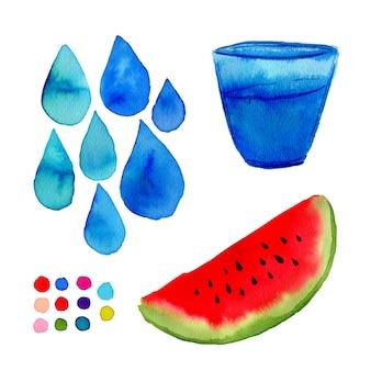 Illustration aquarelle pour les décorations. main peinture art avec melon d'eau, verre et gouttes