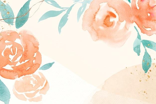 Illustration aquarelle de printemps cadre rose orange fond