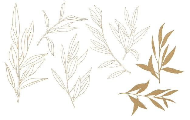Illustration aquarelle ramifiée d'olivier doré isolée
