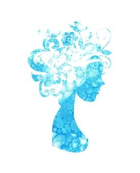 Illustration à l'aquarelle d'une silhouette d'une fille avec des fleurs dans les cheveux avec des taches bleues de peinture