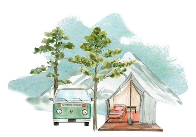 Illustration à l'aquarelle d'une tente de camping. parfait pour le logo.