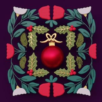 Illustration d'art populaire ornement de noël