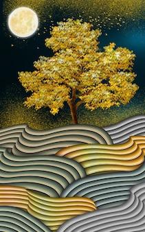 Illustration art de toile décorative 3d lignes ondulées colorées et lune et arbre doré et oiseaux