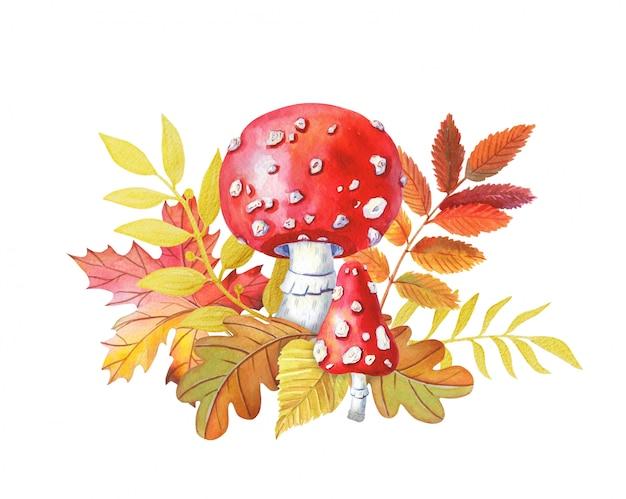 Illustration d'automne. champignon rouge vif à pois.
